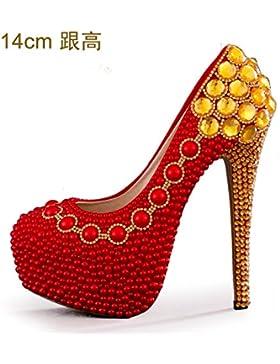 KPHY-Zapatos de Boda Rojo Zapatos de novia zapatos Zapatos Dama High-Heeled con 14cm La Perla Dorada zapatos de...