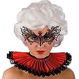 Gorgiera rosso nera colletto plissettato con merletto