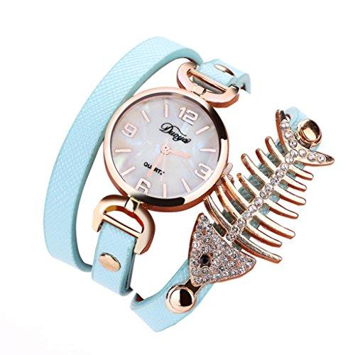 1 PC Damen Fisch Spezial Knochen Wicklung Analog Quartz Bewegung Armbanduhr Armband von CICIYONER (Minzgrün)