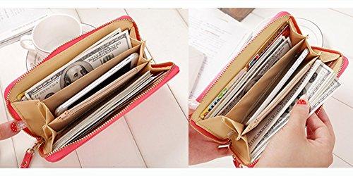 Donne Signora Frizione Borsa Lungo Portamonete Borsello Titolare Carta Portafoglio Viola Anguria rossa
