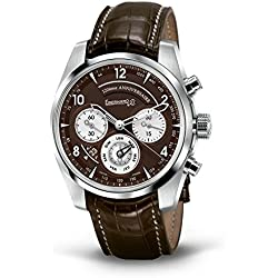 Men Eberhard 31120CPD Automatic Steel quandrante Brown Leather Strap Watch