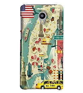 Blue Throat Road Map Printed Designer Back Cover/Case For Meizu M2