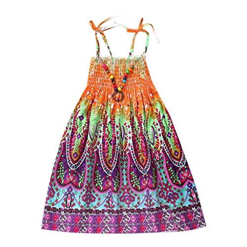 (JUTOO Säuglingskindermädchenbaby-Kleidungs-Nationale Art mit Blumenböhmisches Strandgurt-Kleid (Orange,100))