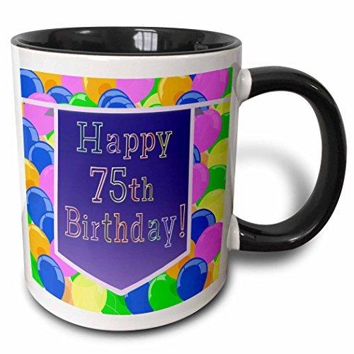 Queen54ferna Beverly Turner Geburtstags-Design - Luftballons mit violettem Banner Happy 75th Birthday - 312 ml zweifarbige Schwarze Tasse