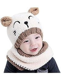 5741f6abc23ab Sombrero de Punto Unisex Sombrero de Invierno cálido Conjunto de Bufanda  Lindo Sombrero Animal Beige para