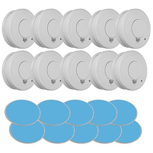 10 X Rauchmelder nach DIN EN 14604 mit 85db Signallautstärke, Brandmelder inkl. 9V Block Batterie und Magnetolink Befestigung (10-er Set)