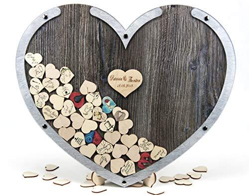 Laserano Edles Hochzeitsgästebuch, Herzform, Silber, Holz Herzchen - Personalisierbar mit Wunschgravur (Dekor Eiche Vintage - Rahmen Silber, L - 50 x 40 cm)