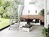 Intercon Außentreppe Hollywood 100 cm breit mit WPC oder Streckgitter Stufen für Geschoßhöhe 72 – 330 cm mit 4 – 14 Stufen Anthrazit