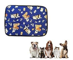 Ducomi Tobia - Tappetino Cuccia e Lettino per Cane e Gatto con Fodera Impermeabile - Cuscino idrorepellente per Cani, Gatti e Animali Domestici (45 x 61 cm, Blue Dogs)