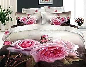 luk huile home textiles motif roses effet 3d romantique l 39 impression en taille double. Black Bedroom Furniture Sets. Home Design Ideas