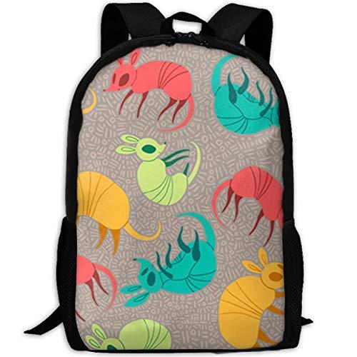 best& Rainbow Colorful Armadillo Casual Laptop Backpack School Bag Shoulder Bag Travel Daypack Handbag - Adrienne Oxford
