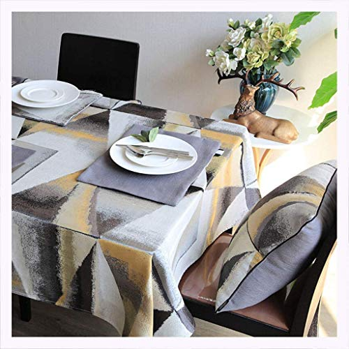 MWPO Tischdecke Tischdecke Moderne Einfache Stoff Polyester Wohnzimmer Couchtisch Restaurant Esstisch Geometrische Grau Tischdecke Tischdecke (Größe: 140 * 220 cm)
