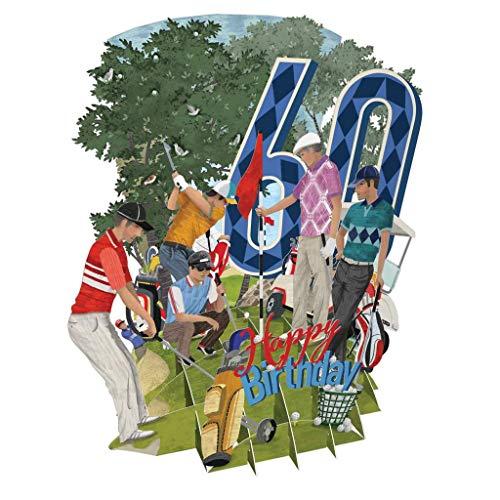 3D Pop-Up-Grußkarte zum 60. Geburtstag, Golf, Top of The World
