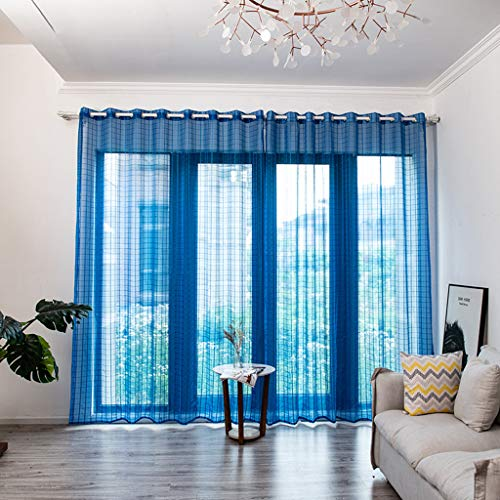 Wokee Romantische Schiere Fenstervorhang,200cm x 150cm,Leaves Vorhang Fenster Damast Optik lichtdicht für Wohnzimmer Schlafzimmer (Blau)