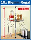 10 x WENKO Teleskop-Rundregal - inl. 6 Haken - Küchenregal rund 30 cm - Klemmregal - Teleskop Regal für Küche - Ablage für Küchenhelfer