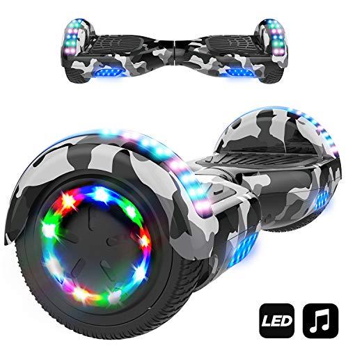 "Markboard Elektro Scooter Hoverboard LED 6,5\"" E-Balance E-Skateboard Elektroroller 700W Motor Bluetooth (LED Camogrün)"