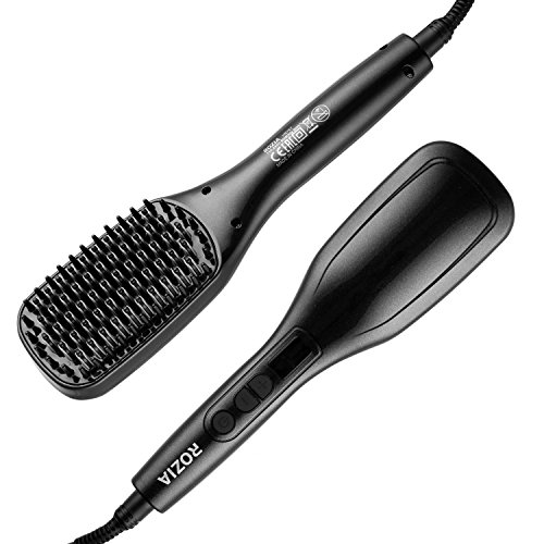 Rozia HR767 Hair Straightener with Temperature Control Ceramic Heating Detangling Hair Brush (Black)