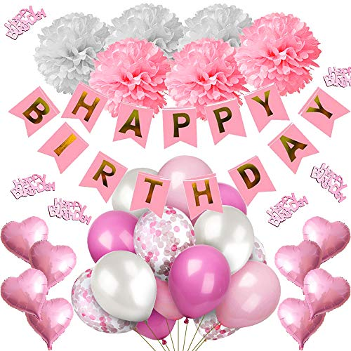 iZoeL Rosa Pink Geburtstag Deko für Mädchen Happy Birthday Girlande, 6 Pompoms, 15 Luftballons, 10 Pink Konfetti Ballons, 8 Sternballon, Tischdeko Konfetti Ballonbänder Sticker (Rosa Ballon 6)