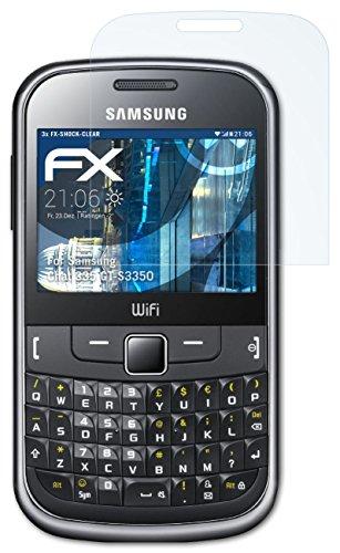 Samsung Chat 335 (GT-S3350) Folie - 3 x atFoliX FX-Shock-Clear stoßabsorbierende ultraklare Panzerfolie Displayschutzfolie