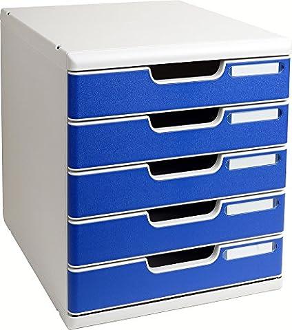 Exacompta Modulo Module de classement 5 tiroirs Gris/Bleu