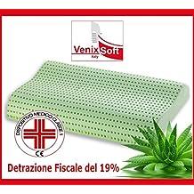 Almohada viscoelástica VENIXSOFT en espuma de momoria termosensible -PRODUCTO SANITARIO Clase 1 MARCADO CE, deducción del 19%-con lympha de aloe vera, 70x40x10-12cm, funda de almohada de 100% algodón