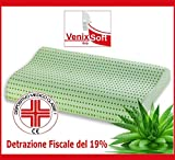VENIXSOFT Cuscino MEMORY FOAM TRASPIRANTE VENIXSOFT anticervicale in LINFA DI ALOE VERA effetto rilassante e riposante-DISPOSITIVO MEDICO CLASSE I-Fodera cotone sfoderabile.MADE IN ITALY mis 70x40x10-12cm