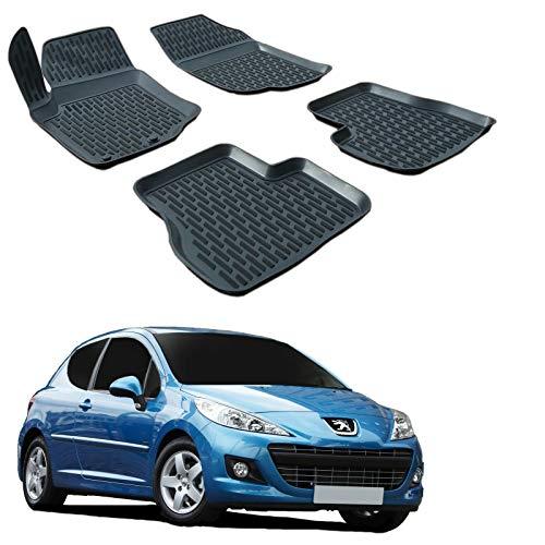 | 3D Tapis DE Sol en Caoutchouc Premium Compatible avec Peugeot 207 2006-2014 4 pièces SCOUTT