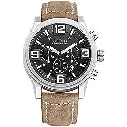 YPS Men Quartz 3D Dial Surface Multifunction Dial Calendar Display Leather Strap Wrist Watch WTH5310