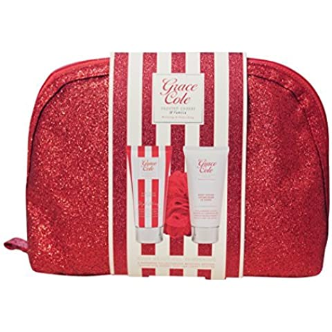 Grace Cole Frosted Cherry & Vanilla 4-Pc Pampering: 100ml Wash Lotion Puff Purse by Grace Cole