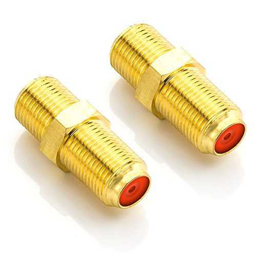 deleyCON SAT Adapter Verbinder Koaxialkabel verlängern 2X F-Buchse Vergoldet für Sat Kabel BK Anlagen - 2 Stück (Koaxial F Stecker Buchse Adapter)