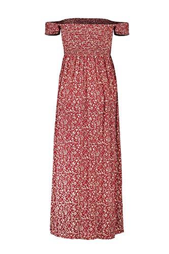 Babyonline® Damen Casual Kleid Schulterfrei Maxikleid Floral Dress mit Schlitz Weinrot