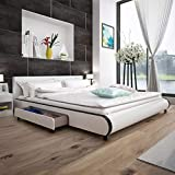tidyard Lit en Cuir Artificiel avec 2 Tiroirs Construction Solide Design Moderne Blanc 180 x 200 cm