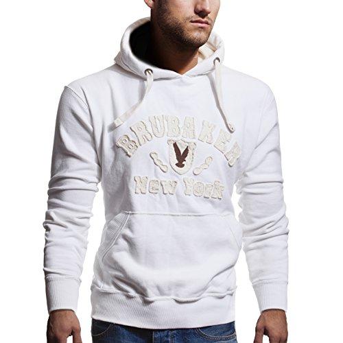 BRUBAKER Herren Sweatshirt mit Kapuze N.Y. Eagle Weiß Gr. XXL Eagle Herren Hoodie