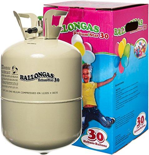 Preisvergleich Produktbild Unschlagbares Partyzubehör: HeliumStar® Helium Einwegflasche mit 250 Liter Ballongas für bis zu 30 Ballons - Heliumflasche mit Luftballongas ideal für Kindergeburtstag, Hochzeit etc. - Helium für Luftballons als Partyspaß!