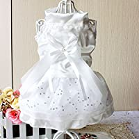 smalllee_lucky_store Small Dog Wedding Dresses Tuxedo Shirt Chihuahua Princess Skirt Pet Dog Pleated Camisole Tutu Dress Flower Lace