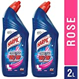 Harpic PowerPlus Toilet Cleaner - 1000 ml (Pack of 2, Rose)