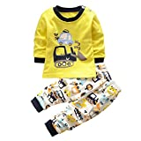 TPulling Mode Herbst Frühling Sommer Mädchen Baby Kinder Langarm-Cartoon-Bagger Zweiteilige Anzug Casual Kleinkind Top Pullover Mantel Dicke T-Shirt Outfits Kleider (Gelb, 90)