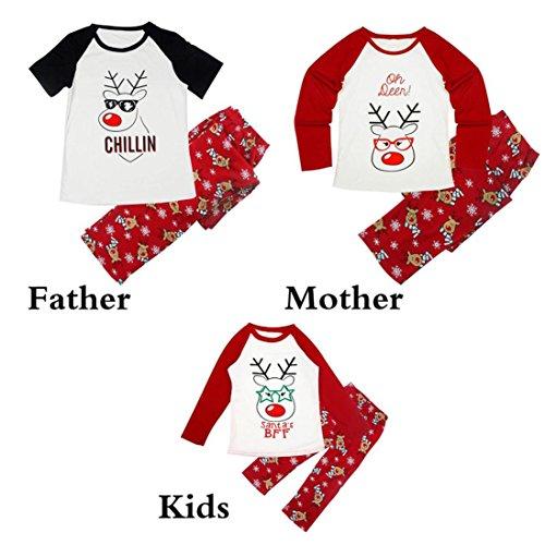 Familie Matching Weihnachten Pyjamas Set Upxiang Frauen Mann Kids Hirsch Bluse + Hosen / Baby Pyjamas Strampler Jumpsuit, Herbst Winter Weihnachtsfeier Familie Pyjamas (5T, Hirsch-Jungen / Mädchen) Jungen Pyjama-set 5t
