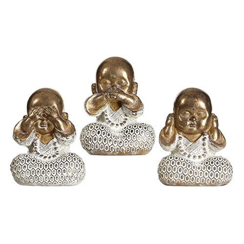 D,casa - Set 3 figurita Buda de Suerte poliresina Decoracion 10 cm (Ver, oir, callar)