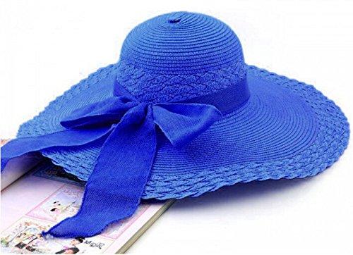Chapeau De Paille D'arc D'été Dame Chapeau De Plage Chapeau Chapeau De Vacances Casquettes De Tourisme SapphireBlue