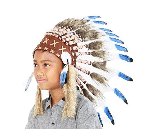 KARMABCN N32 - Indischer Kopfschmuck für 5 bis 8 Jahre altes Kind/Kinder, Hut, Warbonnet, Feder Kopfschmuck (Indische Kopfschmuck Kostüm Halloween)