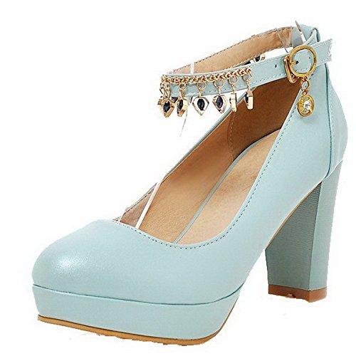 AllhqFashion Femme Matière Souple Boucle Rond à Talon Haut Mosaïque Chaussures Légeres Bleu Clair