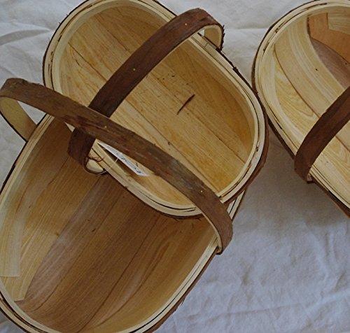 Panier charmant en bois de taille moyenne avec poignées rustiques – Idéal pour le jardin ou en cadeau – (taille moyenne : 32 x 20 cm)