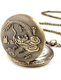 Yesurprise Montre de poche Montre à Gousset Pendant Quartz Bronze B013 Dragon chinois