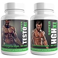 SUPER TESTO XL & SUPER HGH XL White Edition 1 Month Supplement Bundle HGH & Testosterone Boosters for Men 120 Pump Tablets | Extreme Bodybuilding Protein Muscle Gain weight bodybuilding growth extreme x