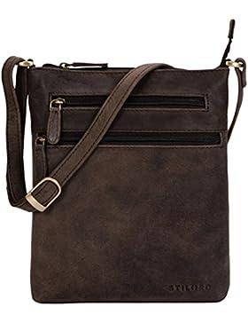 STILORD 'Juna' Damen Umhängetasche Leder Handtasche Vintage Damentasche Ausgehtasche für 9,7 Zoll Tablets und...