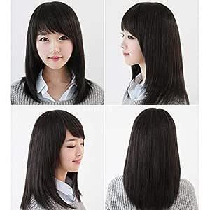 Xiufen Women Lady Oblique Bangs Natural Black 45cm Long Rinka Haircut Short Hair Full Wigs Hairpiece Amazon In Beauty