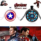 2 PC AVENGERS SET - CAPTAIN AMERICA SHIELD & IRONMAN'S ARC REACTOR TRENDY IMPORTED METAL PENDANTS WITH CHAIN. LADY HAWK DESIGNER SERIES 2018. ❤ LATEST ARRIVALS - RINGS & T SHIRT - CAPTAIN AMERICA - AVENGERS - MARVEL - SHIELD - IRONMAN - HUL