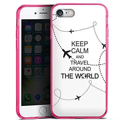 Apple iPhone 7 Silikon Hülle Case Schutzhülle Reisen Travel Keep Calm Silikon Colour Case pink