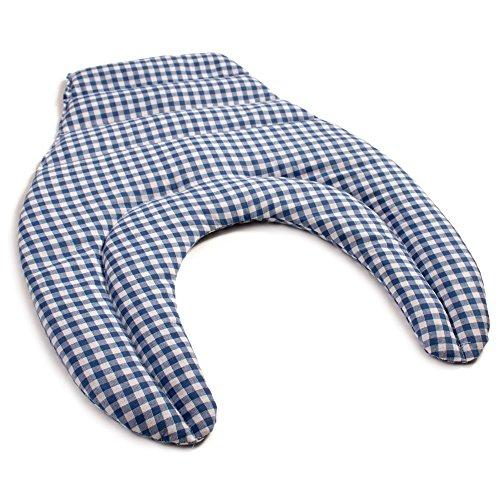Cuscinetto ricurvo per collo e schiena, blue-bianco | Cuscino termico cervicale con noccioli di ciliegia | Cuscino cervicale con schienale